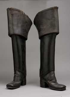 """Pair of Men's Leather Boots, English, I'm pretty sure Gaston and Eric from """"The Little Mermaid"""" owned these 18th Century Clothing, 18th Century Fashion, 17th Century, Antique Clothing, Historical Clothing, Leather Heels, Leather Men, Vintage Shoes, Vintage Outfits"""