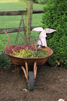 Succulent wheelbarrow planter - what a fun touch to the garden…