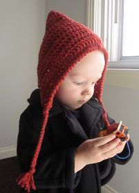 Crochet Pixi Hood     Simple and sweet!   6.0 mm- J Hook  Red Heart Super Savor Yarn/Worsted weight   0-3 Months   Chain 38, Dc in 2n...