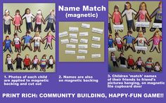 Preschool Name Recognition: Early Literacy with Magnets -- You could do this same concept with family members and names! Is there room on your refrigerator? (from article with name projects: art + workstations)