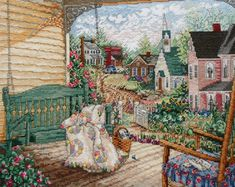 Exquisite Finished Completed Counted Cross Stitch Picture - VICTORY GARDEN House Porch Swing Quilt - Paula Vaughan Vaughn. $99.75, via Etsy.
