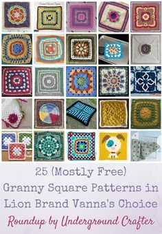 Lion Brand Patterns Crochet Free 25 Mostly Free Granny Square Patterns In Lion Brand Vannas Choice Lion Brand Patterns Crochet Free 15 Free Chunky Crochet Patterns From Head To Toe Using Lion Brand. Lion Brand Patterns Crochet Free 15 Knit And Croch. Granny Square Pattern Free, Crochet Squares, Crochet Granny, Free Crochet, Granny Squares, Crochet Gifts, Irish Crochet, Chunky Crochet, Crochet Flower