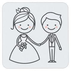Cartoon Bride & Groom Black And White Wedding Square Paper Coaster
