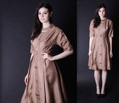 1960s Gold Dress  Mad Men Dress  50s Dresses   2824 by aiseirigh, $178.00