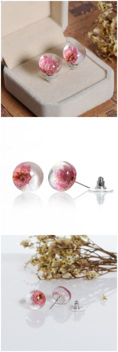 """Glass Earrings Ear Studs Silver Tone Round Pink Dried Flower Transparent W/Stoppers 22mm( 7/8"""") x 13mm( 4/8""""), 1 Pair"""