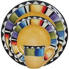 YES! For my Mexican dishes! Gibson Home Fandango 16-Piece Dinnerware Set, Yellow