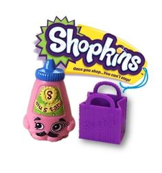 SHOPKINS Season 2 Pink Cornell Mustard 2-085 with purple shopkin shopping bag #Shopkins