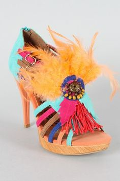 Multi colored strappy heel with Native American designs, tassels, and feathers by Promise