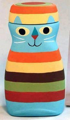 Eric Barclay: Striped Cat Cute reuse of a Nescafé jar. Fun Crafts, Crafts For Kids, Arts And Crafts, Bottle Painting, Bottle Art, Mason Jar Crafts, Bottle Crafts, Coffee Jars, Coffee Bottle