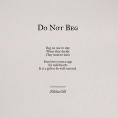 do not beg by nikita gill