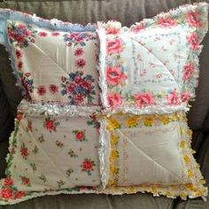 Vintage Hanky Handkerchief Rag Quilted Pillow Cover by oldrose
