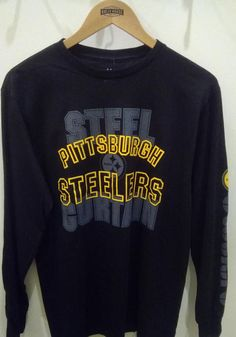 Majestic Pittsburgh Steelers Black Primary Receiver Long Sleeve T Shirt - 17255970 Pittsburgh Pirates, Pittsburgh Penguins, Pittsburgh Steelers, Steelers T Shirts, Go Steelers, Pitt Panthers, Long Sleeve Shirts, Female, Sleeves
