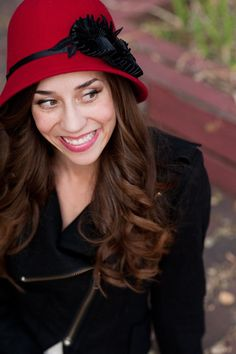 Red Cloche Hat  With Black Ribbon Floral Accent by bethanylorelle, $98.00