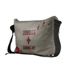 Zombies Survival Kit Messenger Bag-- LOVE IT! I am a huge zombie fan Survival Kit, Zombies Survival, Apocalypse Survival, Zombie Gifts, Pack Your Bags, Cute Bags, Beautiful Bags, Just In Case, Bag Accessories