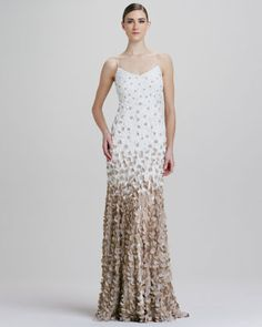Ombre Petal Slip Gown by Theia at Neiman Marcus. why the fuck is this $995 i want it omg