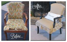 thrift store burlap chair makeover