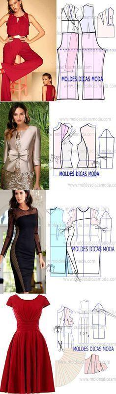 Like the bottom red dress. Sewing Patterns Free, Clothing Patterns, Dress Patterns, Diy Clothing, Sewing Clothes, Diy Pantalon, Diy Kleidung, Illustration Mode, Diy Dress