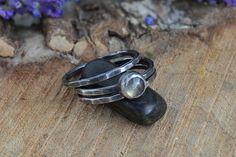 Labradorite Stacking Ring Set Three Ring by GemspellJewellery