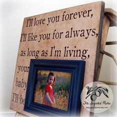I'll Love You Forever, I'll LIke You For Always Personalized Picture Frame 16x16 First Birthday Baby Shower Christening Baptism Mothers Day on Etsy, $75.00