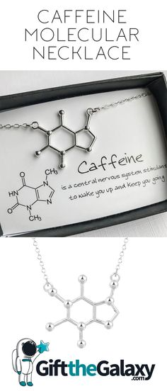 Caffeine Molecular Necklace for Coffee Lovers Coconut Oil Weight Loss, Coffee Lover Gifts, Coffee Lovers, Science Gifts, Coffee Quotes, Silver Pendant Necklace, Dog Tag Necklace, Best Gifts, Science Quotes