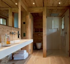 Architecture, Rustic Bathroom Chalet House Design With Wooden Wall Floor And Ceiling Plus Wash Basin Mirror Towel Storage And Glass Room Divider Ideas ~ Elegant and Cozy Chalet Located in Gstaad