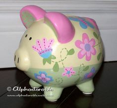 Hand painted piggy bank to match Charlotte bedding by Sumersault