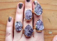 Gold Amethyst Druzy Crystal Ring  Raw Gemstone by kissthefuture, £15.99