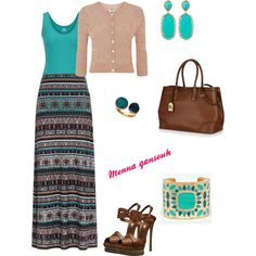 Teal and brown maxi skirt and cardigan by mna qansouh by menna-qansouh on Polyvore featuring polyvore, fashion, style, Monsoon, Casadei, Lauren Ralph Lauren, Janna Conner Designs and Kendra Scott