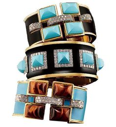 A trio of Bastille gold, turquoise, and diamond cuffs, designed in the early '70s by David Webb. Photo: Ilan Rubin