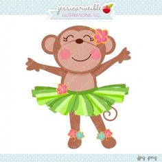 Hula Monkey Cute Images, Cute Pictures, Cute Animal Drawings, Luau Party, Paper Quilling, Hula, Clipart, Textures Patterns, Girl Room