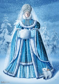 Snegurochka, daughter of the Snow Queen and Father Frost. Christmas Pictures, Christmas Art, Vintage Christmas, Father Christmas, Russian Folk, Russian Art, Russian Painting, Ice Queen, Snow Queen