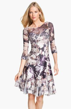 Komarov Floral Print Crinkle Charmeuse Dress - I'm not usually a fan of prints but this is so subtle and its purple (my fave)