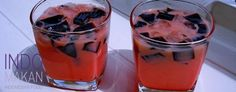 Sirap Bandung Cincau - Ice cold sweet beverage with grass jelly and rose syrup
