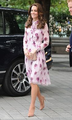 After wearing labels from J. Crew to Alexander McQueen during the Cambridges' royal tour of Canada, Kate Middleton emerged looking pretty in pink in a shirtdress by Kate Spade as she marked World Mental Health Day in London on Monday. The Duchess was taking part in a special Heads Together event
