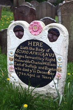 Restored headstone of Scipio Africanus, churchyard of St Mary's in Bristol, England.
