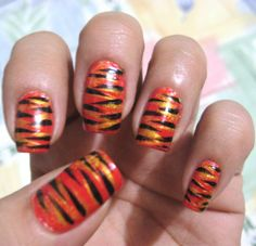 Tiger Nail Art, one of my favorite designs. :)