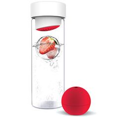 Ice Ball Flavor It Red, water bottle comes with ice ball maker for infused water as it melts.