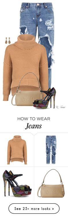 """Loving these jeans!"" by ksims-1 on Polyvore featuring One Teaspoon, C/MEO COLLECTIVE, Coach, Brian Atwood and Oscar de la Renta"