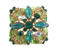 Ornate Green Rhinestone Brooch with Molded Glass Leaves & Aurora Borealis Chatons on Square Gold Alloy and Marquise Stones - Vintage Jewelry