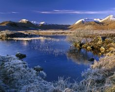 Pristine, Rannoch Moor, Glencoe, Scotland, winter, season, frost, sugar dusting, snow, peaks, blue, reflection, morning photo