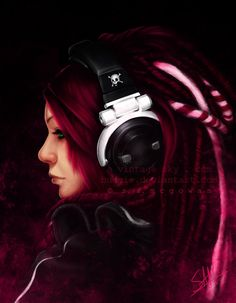 Cyber Punk Grunge by Stephan. headphones, cyber girl, cyberpunk girl, cyberpunk, cyber art, futuristic, cyberpunk art, red hair, hair style by FuturisticNews