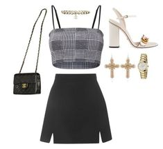 A fashion look from October 2017 featuring Topshop skirts, Gucci sandals and Chanel shoulder bags. Browse and shop related looks. Kpop Fashion Outfits, Stage Outfits, Edgy Outfits, Cute Casual Outfits, Girl Outfits, Casual Skirts, Mode Ulzzang, Looks Chic, Everyday Outfits