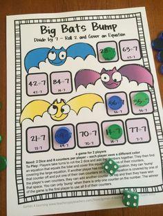FREEBIES Division Bump Games 2 printable math bump games for division from Games 4 Learning