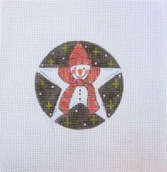 Star Shaped Snowman w/Snow & Stars Handpainted Needlepoint Canvas #Unbranded