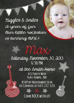 our little rock star is turning one invitation