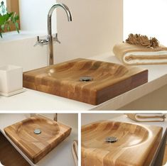 Gorgeous Wooden Sink Bathroom Wood Or 11 Kitchen Cover - bedhome. Wood Bathtub, Wood Sink, Wooden Bathroom, Wooden Kitchen, Bathroom Furniture, Wood Furniture, Wood Projects, Woodworking Projects, Wood Interiors