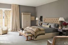 9 Bedrooms Show Off the Softer, Prettier Side of Gray: Ellen DeGeneres's Gray and Tan Bedroom