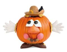 "Scarecrow Pumpkin Wear by Outdoor Decor. $22.95. Polystone & Metal.. Use year after year on real or faux pumpkins or gourds. Pieces range from 1.25"" to 6.25"". Multi-colored. Never worry about the mess of carving your pumpkin again. Instead decorate it with this 'pumpkin wear' that you can use year after year. Turn your pumpkin into a scarecrow, with straw hat, leaf smile, and outspread hands waving hello. What an easy and fun way to dress up your pumpkin for Halloween!"