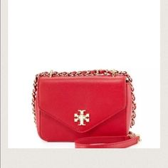 Tory Burch Kiri Mini chain cross body Tory Burch Mini Chain clutch Royal Red Cross body.  NWT.  Chic and classy!  Beautiful red.  Strap drop can be used as double or single.  Dust bag included. Tory Burch Bags Crossbody Bags