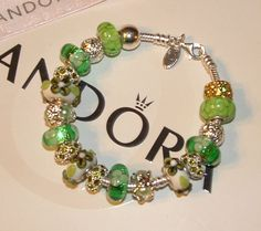 Green with Envy Authentic Pandora 925 Italian Murano Glass Charm Bead Bracelet | eBay